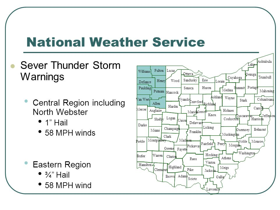 National Weather Service Sever Thunder Storm Warnings Central Region including North Webster 1 Hail 58 MPH winds Eastern Region ¾ Hail 58 MPH wind Jefferson Columbiana Mahoning
