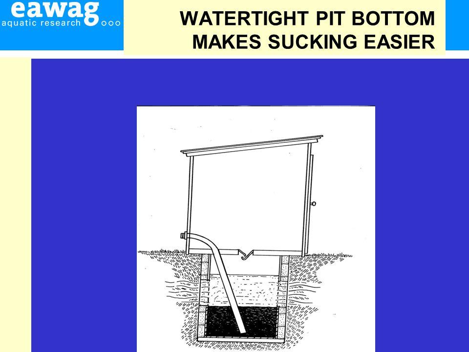 WATERTIGHT PIT BOTTOM MAKES SUCKING EASIER