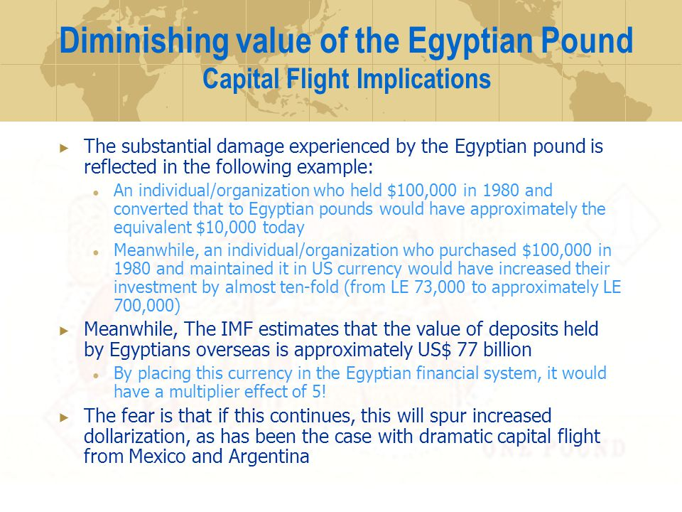 The substantial damage experienced by the Egyptian pound is reflected in the following example: An individual/organization who held $100,000 in 1980 and converted that to Egyptian pounds would have approximately the equivalent $10,000 today Meanwhile, an individual/organization who purchased $100,000 in 1980 and maintained it in US currency would have increased their investment by almost ten-fold (from LE 73,000 to approximately LE 700,000) Meanwhile, The IMF estimates that the value of deposits held by Egyptians overseas is approximately US$ 77 billion By placing this currency in the Egyptian financial system, it would have a multiplier effect of 5.