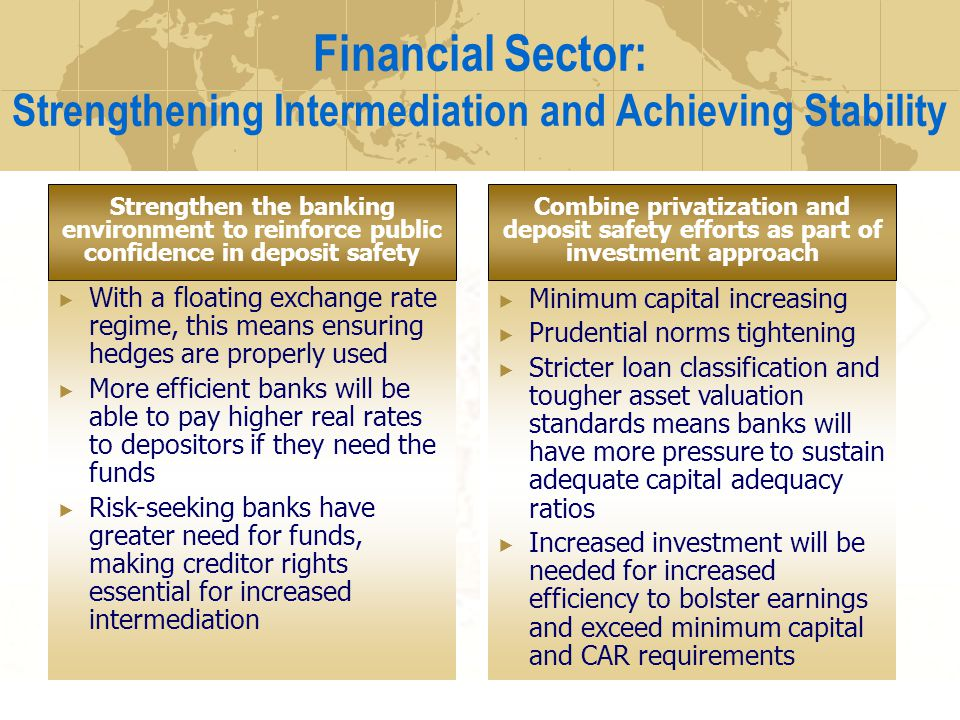 Financial Sector: Strengthening Intermediation and Achieving Stability With a floating exchange rate regime, this means ensuring hedges are properly u