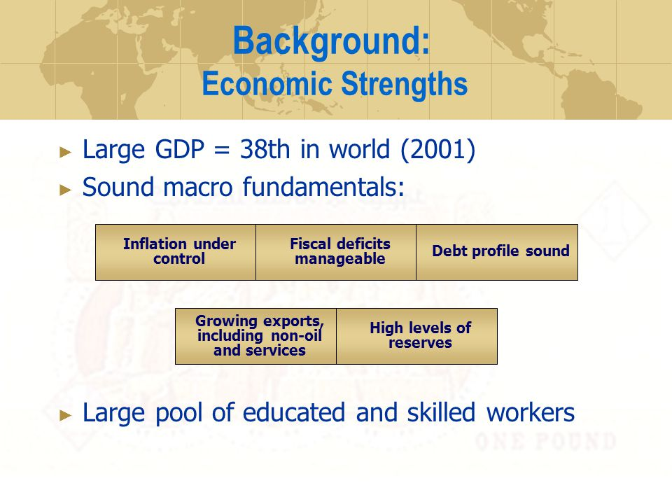 Background: Economic Strengths Large GDP = 38th in world (2001) Sound macro fundamentals: Large pool of educated and skilled workers Inflation under control Fiscal deficits manageable Debt profile sound Growing exports, including non-oil and services High levels of reserves