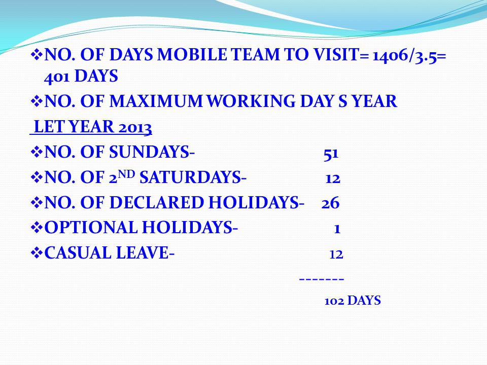 NO. OF DAYS MOBILE TEAM TO VISIT= 1406/3.5= 401 DAYS NO.