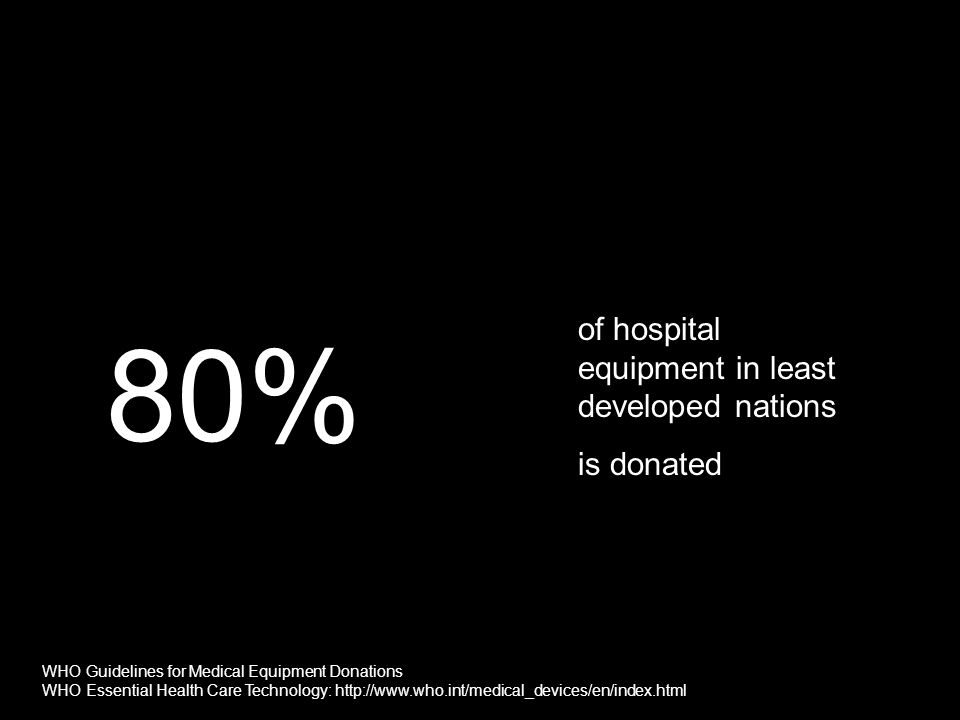80% of hospital equipment in least developed nations is donated WHO Guidelines for Medical Equipment Donations WHO Essential Health Care Technology: h