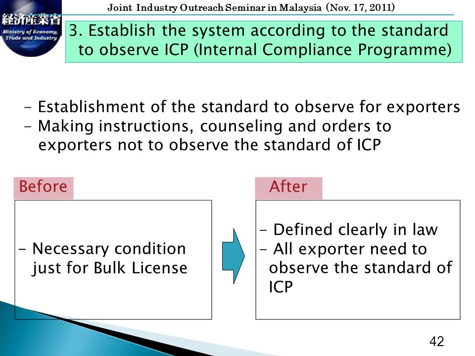 Joint Industry Outreach Seminar in Malaysia (Nov. 17, 2011) - Defined clearly in law - All exporter need to observe the standard of ICP After - Necess