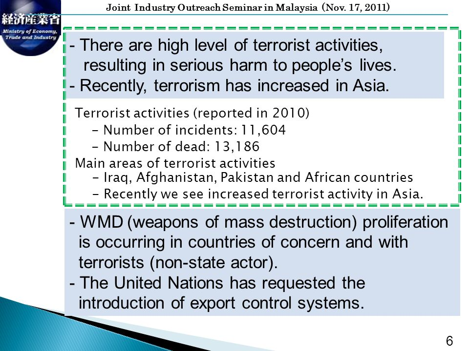 Joint Industry Outreach Seminar in Malaysia (Nov. 17, 2011) Terrorist activities (reported in 2010) - Number of incidents: 11,604 - Number of dead: 13