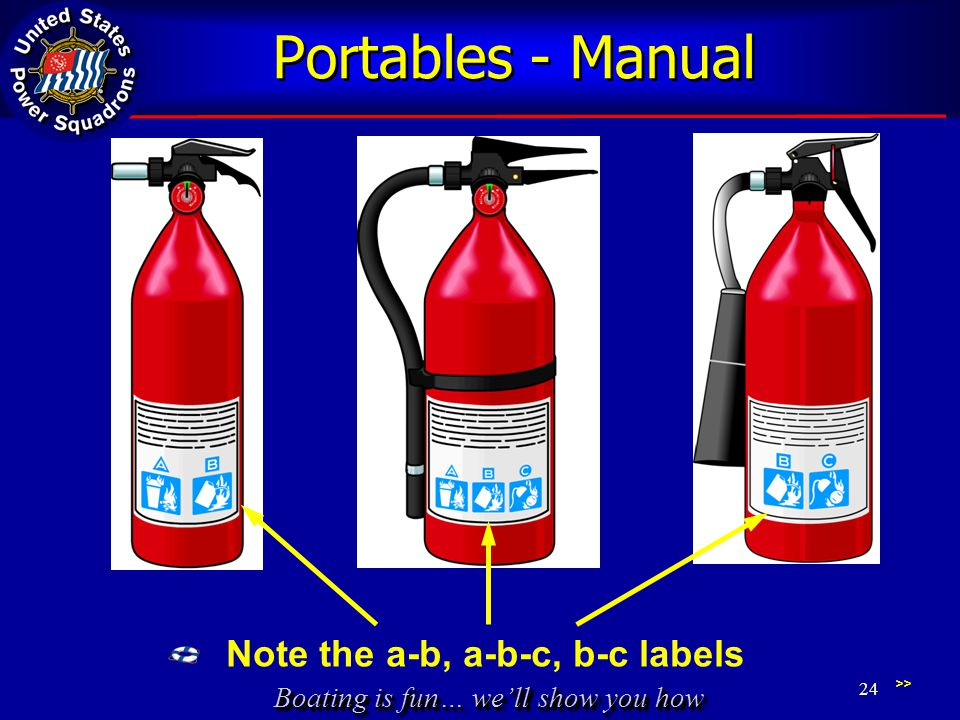 Boating is fun… well show you how Portables - Manual >> 24 Note the a-b, a-b-c, b-c labels