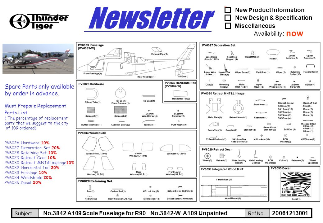 New Product Information New Design & Specification Miscellaneous Availability : SubjectRef No. Newsletter ˇ 20061213001 Spare Parts only available by