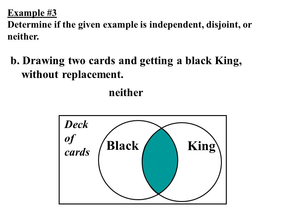 Example #3 Determine if the given example is independent, disjoint, or neither. b. Drawing two cards and getting a black King, without replacement. Bl