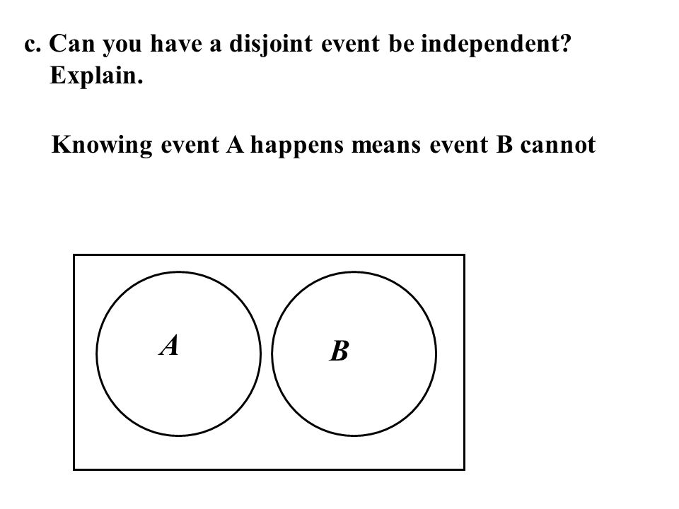 c. Can you have a disjoint event be independent? Explain. A B Knowing event A happens means event B cannot