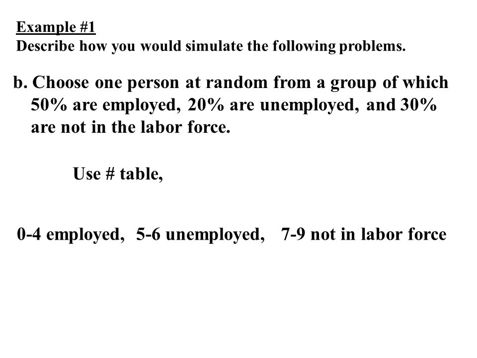 Example #1 Describe how you would simulate the following problems. b. Choose one person at random from a group of which 50% are employed, 20% are unem