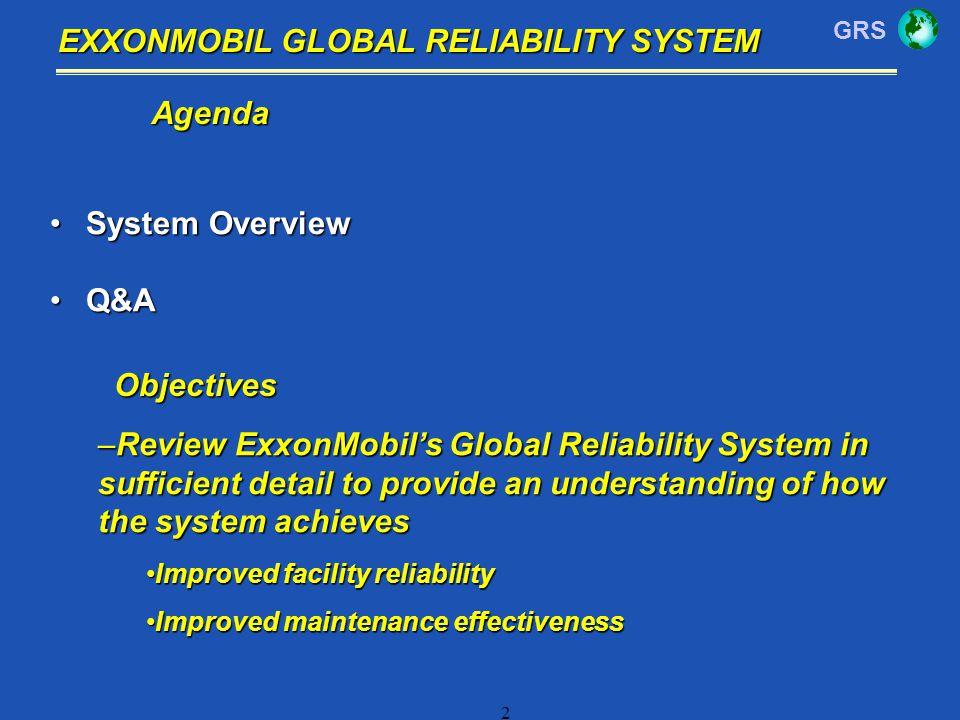 GRS 2 EXXONMOBIL GLOBAL RELIABILITY SYSTEM Agenda System OverviewSystem Overview Q&AQ&A –Review ExxonMobils Global Reliability System in sufficient de