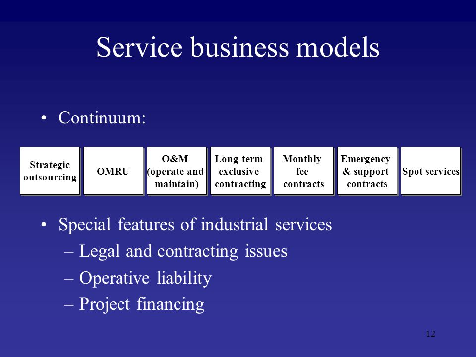 12 Service business models Continuum: Special features of industrial services –Legal and contracting issues –Operative liability –Project financing Strategic outsourcing Strategic outsourcing O&M (operate and maintain) O&M (operate and maintain) Long-term exclusive contracting Long-term exclusive contracting OMRU Emergency & support contracts Emergency & support contracts Monthly fee contracts Monthly fee contracts Spot services