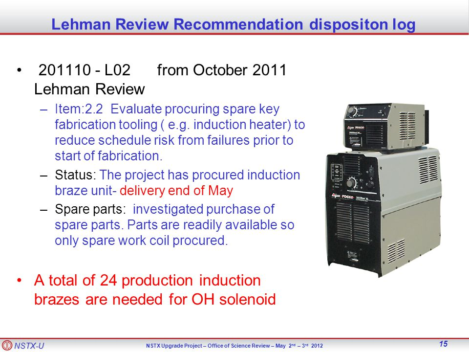 NSTX-U NSTX Upgrade Project – Office of Science Review – May 2 nd – 3 rd 2012 15 Lehman Review Recommendation dispositon log 201110 - L02from October