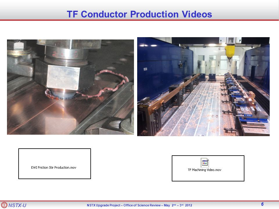NSTX-U NSTX Upgrade Project – Office of Science Review – May 2 nd – 3 rd 2012 6 TF Conductor Production Videos