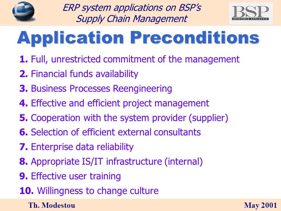 Th. Modestou May 2001 ERP system applications on BSPs Supply Chain Management Which ERP (SAP) modules R/3 Client / Server ABAP/4 FIFinancialAccounting
