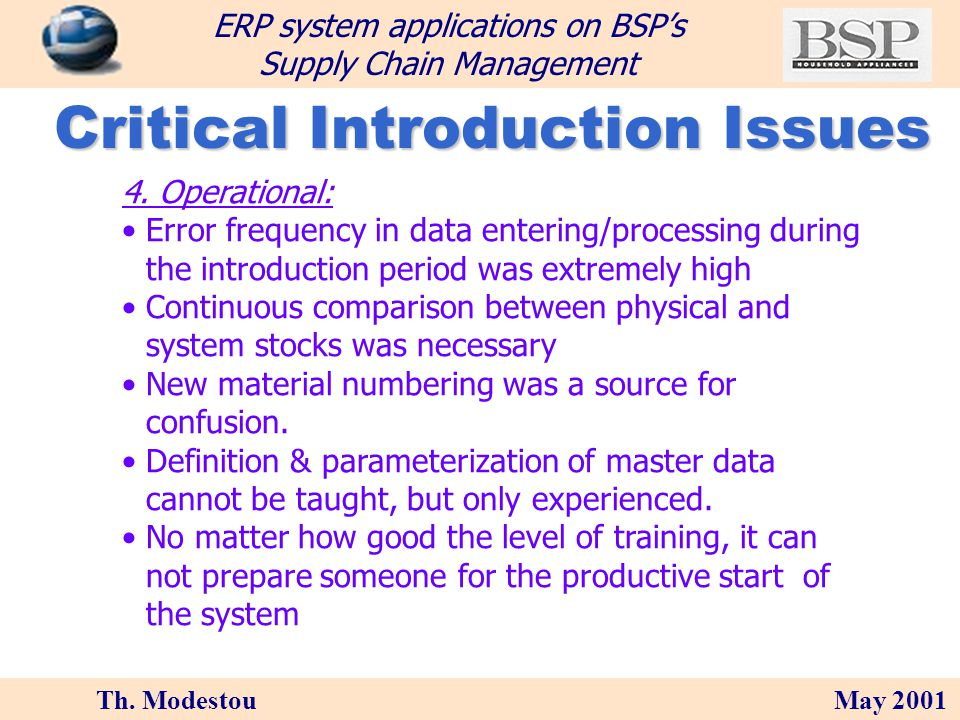 Th. Modestou May 2001 ERP system applications on BSPs Supply Chain Management Critical Introduction Issues 3. Organizational: Cultural shock The organ