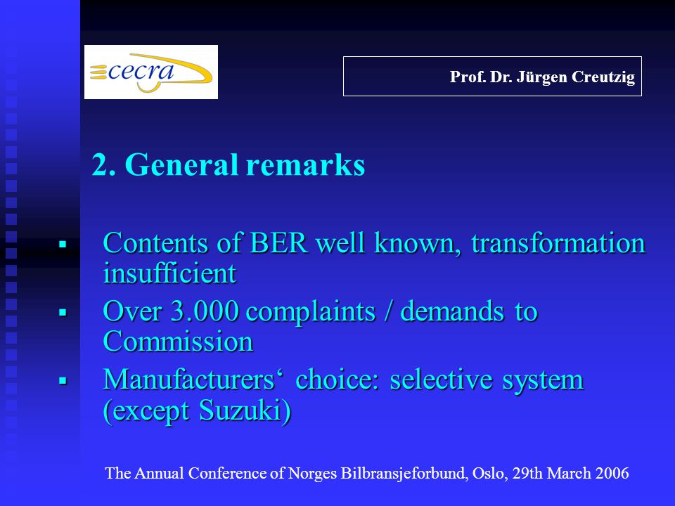 Contents of BER well known, transformation insufficient Contents of BER well known, transformation insufficient Over 3.000 complaints / demands to Commission Over 3.000 complaints / demands to Commission Manufacturers choice: selective system (except Suzuki) Manufacturers choice: selective system (except Suzuki) Prof.