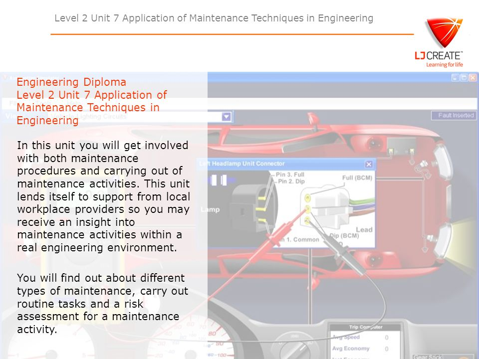 Level 2 Unit 7 Application of Maintenance Techniques in Engineering L2 U7 Learning Outcomes: Understand different types of maintenance for engineering products, plant or equipment including the use of statistical trends.