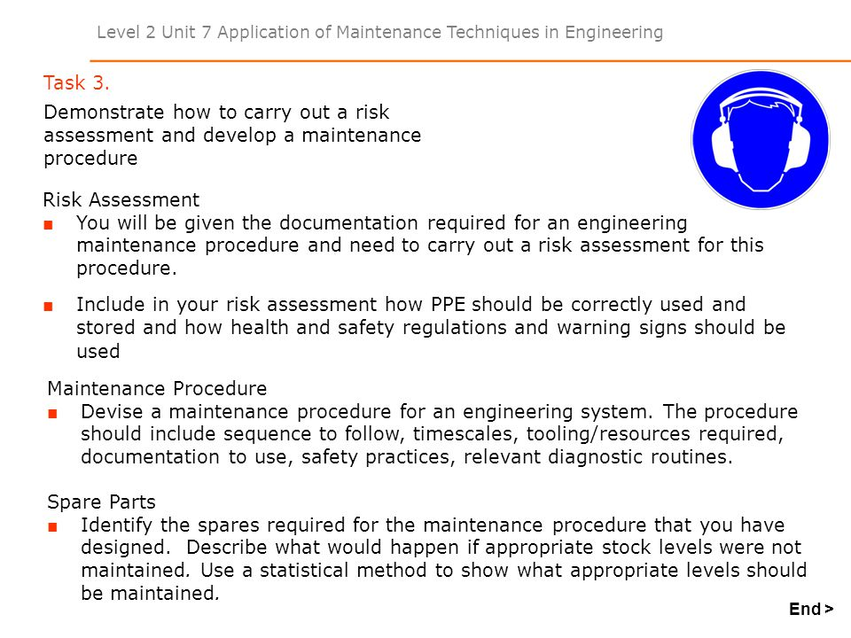 Level 2 Unit 7 Application of Maintenance Techniques in Engineering Task 3. Demonstrate how to carry out a risk assessment and develop a maintenance p