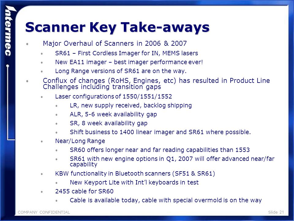 COMPANY CONFIDENTIALSlide 20 Badge Reader 200720062005 Product Q1Q2Q3Q4Q1Q2Q3Q4Q1Q2Q3Q4 Scanner Intermec Technologies Confidential 135x Magscan