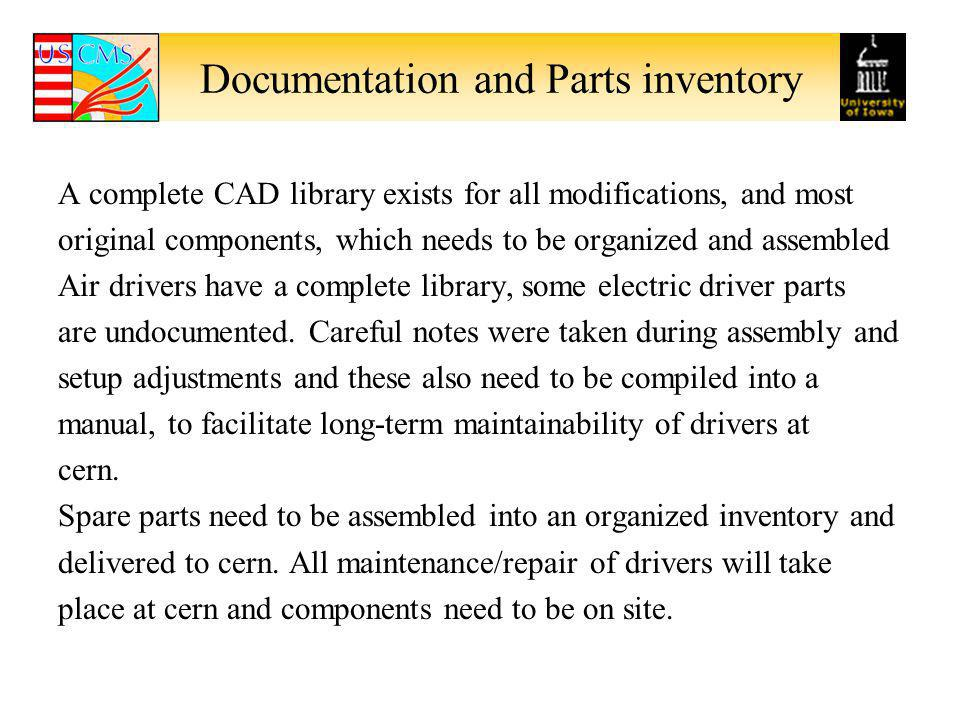 Documentation and Parts inventory A complete CAD library exists for all modifications, and most original components, which needs to be organized and a