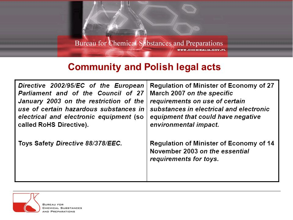 Community and Polish legal acts Directive 2002/95/EC of the European Parliament and of the Council of 27 January 2003 on the restriction of the use of certain hazardous substances in electrical and electronic equipment (so called RoHS Directive).