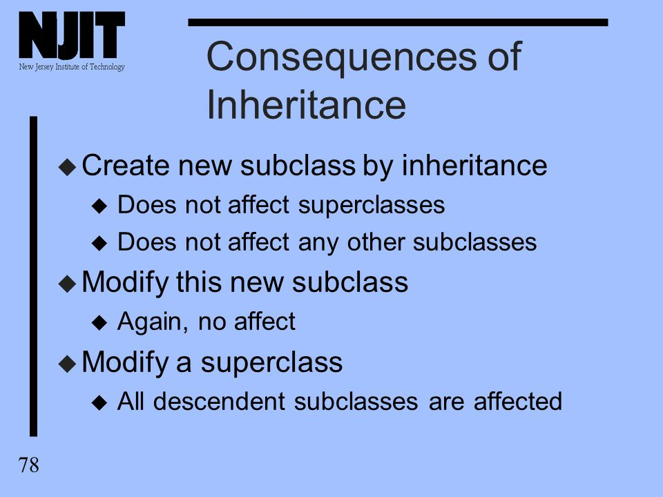 79 Consequences of Inheritance u Inheritance can have u positive effects on development, u negative effects on maintenance