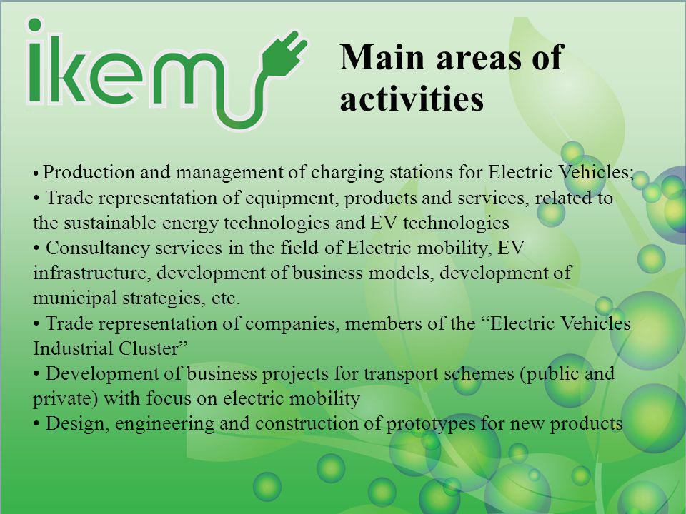 Main areas of activities Production and management of charging stations for Electric Vehicles; Trade representation of equipment, products and service