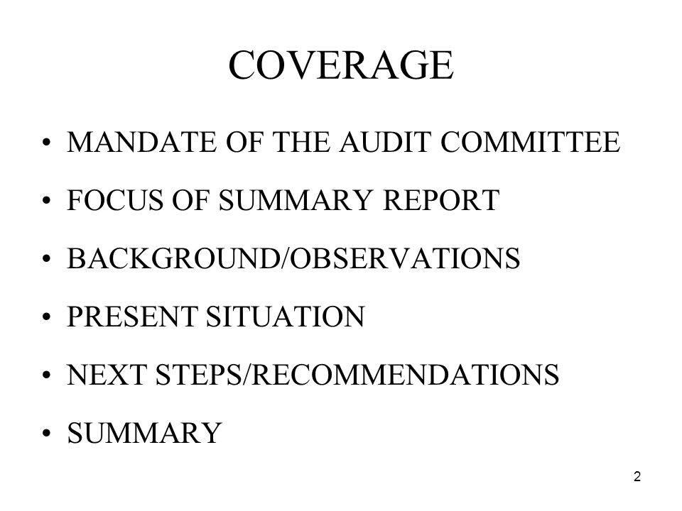 2 COVERAGE MANDATE OF THE AUDIT COMMITTEE FOCUS OF SUMMARY REPORT BACKGROUND/OBSERVATIONS PRESENT SITUATION NEXT STEPS/RECOMMENDATIONS SUMMARY