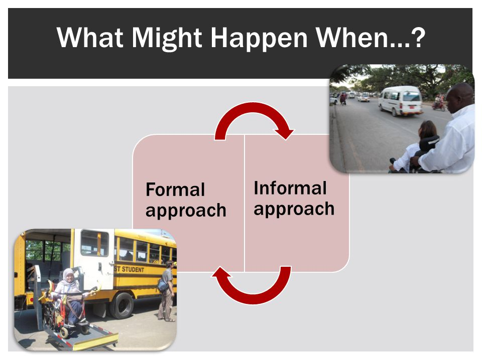 A student travels from a Formal Approach culture to an Informal Approach culture A student travels from an Informal Approach culture to a Formal Approach culture What Might Happen When….
