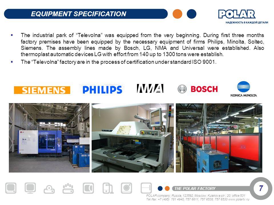 POLAR company, Russia, 123592, Moscow, Kulakova str., 20, office 531 Tel./fax: +7 (495) 781 4940, 757 6611, 757 6538, 757 6530 www.polartv.ru THE POLA
