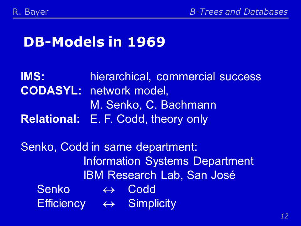 R. BayerB-Trees and Databases 12 DB-Models in 1969 IMS: hierarchical, commercial success CODASYL: network model, M. Senko, C. Bachmann Relational: E.