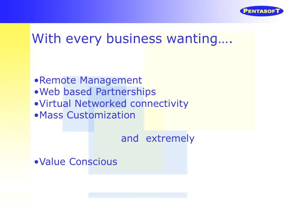 Remote Management Web based Partnerships Virtual Networked connectivity Mass Customization and extremely Value Conscious With every business wanting….