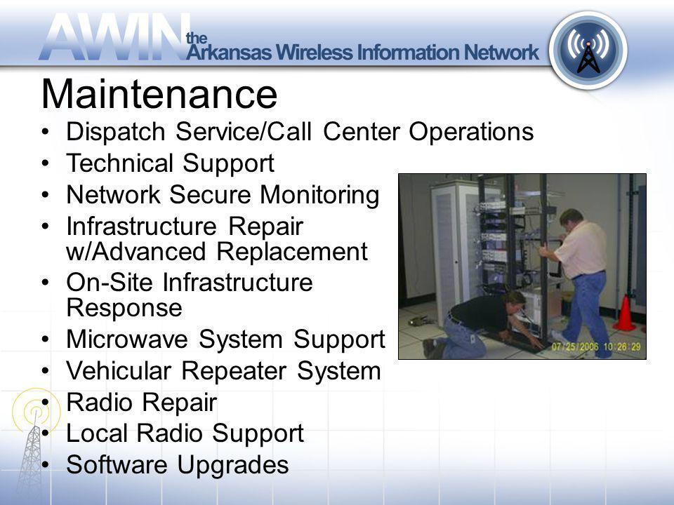 Maintenance Dispatch Service/Call Center Operations Technical Support Network Secure Monitoring Infrastructure Repair w/Advanced Replacement On-Site Infrastructure Response Microwave System Support Vehicular Repeater System Radio Repair Local Radio Support Software Upgrades