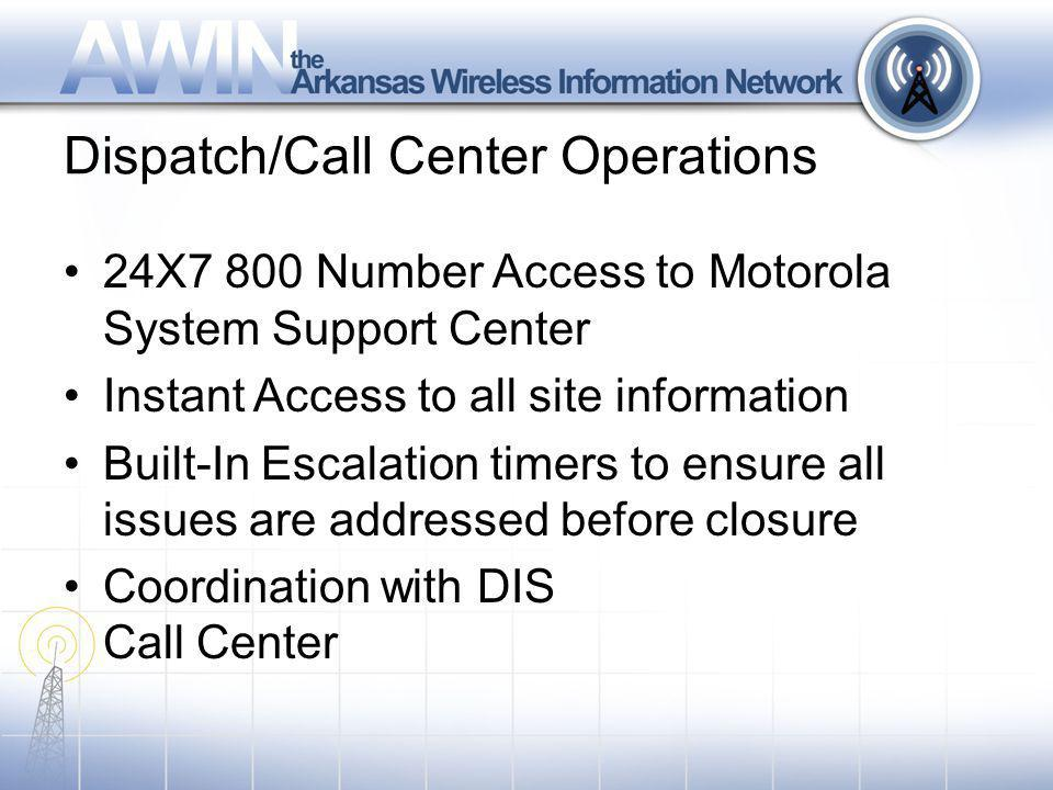 Dispatch/Call Center Operations 24X7 800 Number Access to Motorola System Support Center Instant Access to all site information Built-In Escalation timers to ensure all issues are addressed before closure Coordination with DIS Call Center