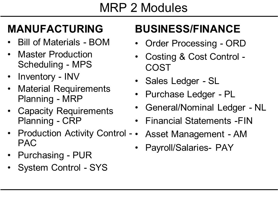 MRP 2 Modules MANUFACTURING Bill of Materials - BOM Master Production Scheduling - MPS Inventory - INV Material Requirements Planning - MRP Capacity R