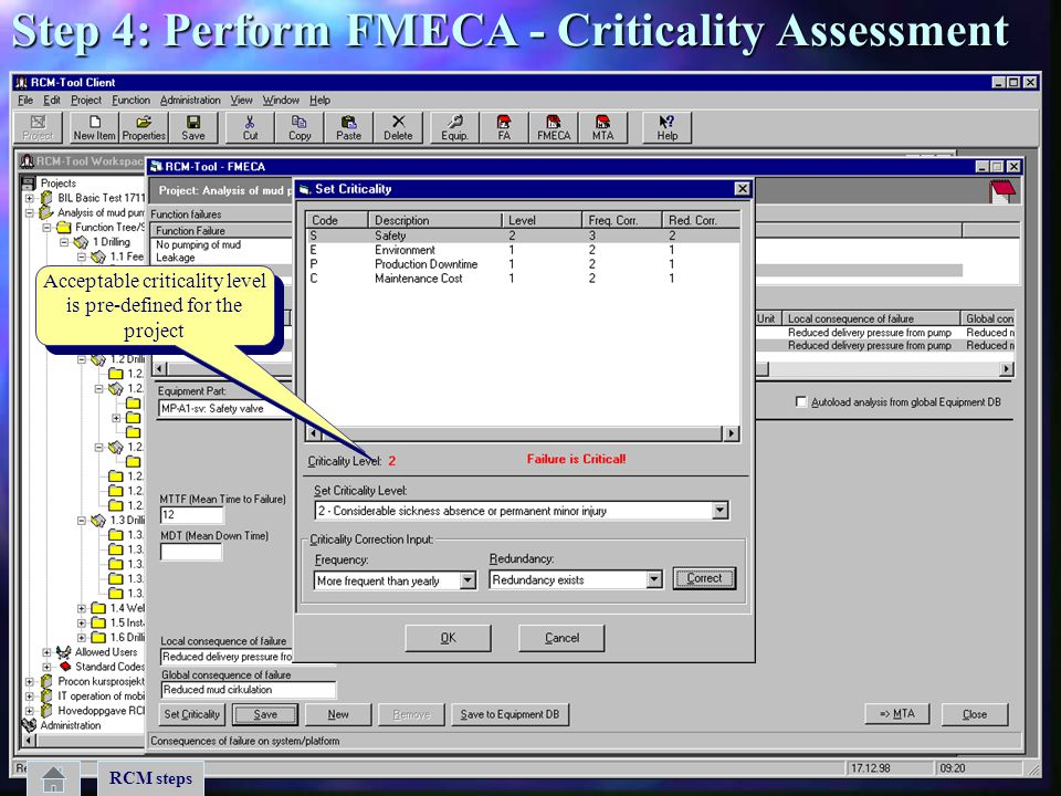 Acceptable criticality level is pre-defined for the project Acceptable criticality level is pre-defined for the project RCM steps Step 4: Perform FMEC