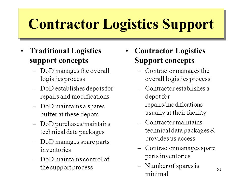 51 Contractor Logistics Support Traditional Logistics support concepts –DoD manages the overall logistics process –DoD establishes depots for repairs