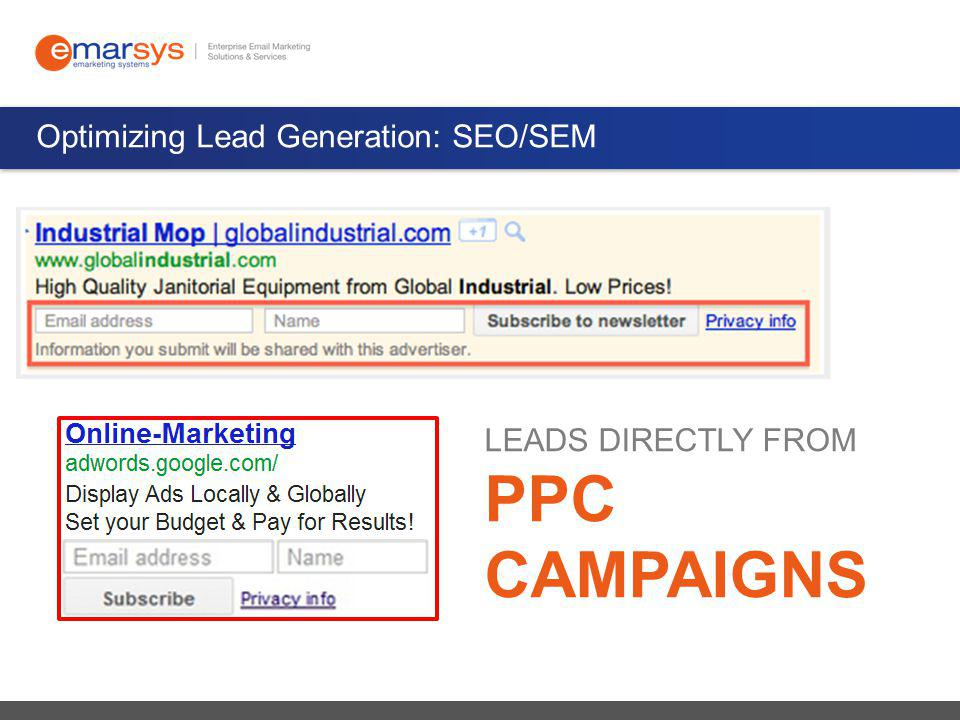 Optimizing Lead Generation: SEO/SEM LEADS DIRECTLY FROM PPC CAMPAIGNS
