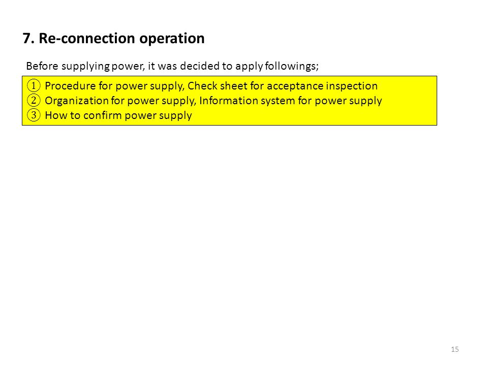 7. Re-connection operation Before supplying power, it was decided to apply followings; Procedure for power supply, Check sheet for acceptance inspecti