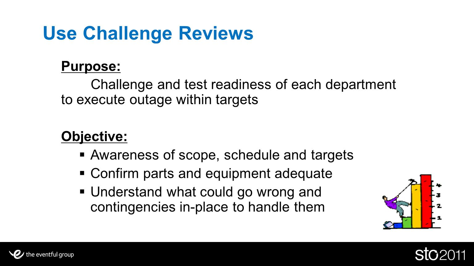 Use Challenge Reviews Purpose: Challenge and test readiness of each department to execute outage within targets Objective: Awareness of scope, schedule and targets Confirm parts and equipment adequate Understand what could go wrong and contingencies in-place to handle them