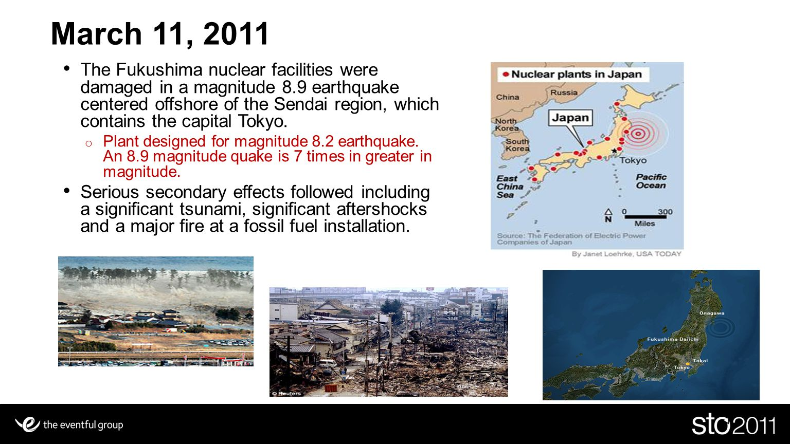 31 March 11, 2011 The Fukushima nuclear facilities were damaged in a magnitude 8.9 earthquake centered offshore of the Sendai region, which contains the capital Tokyo.