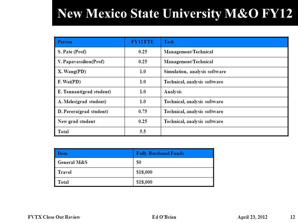 New Mexico State University M&O FY12 12 FVTX Close Out Review Ed OBrien April 23, 2012 PersonFY12 FTETask S. Pate (Prof)0.25Management/Technical V. Pa