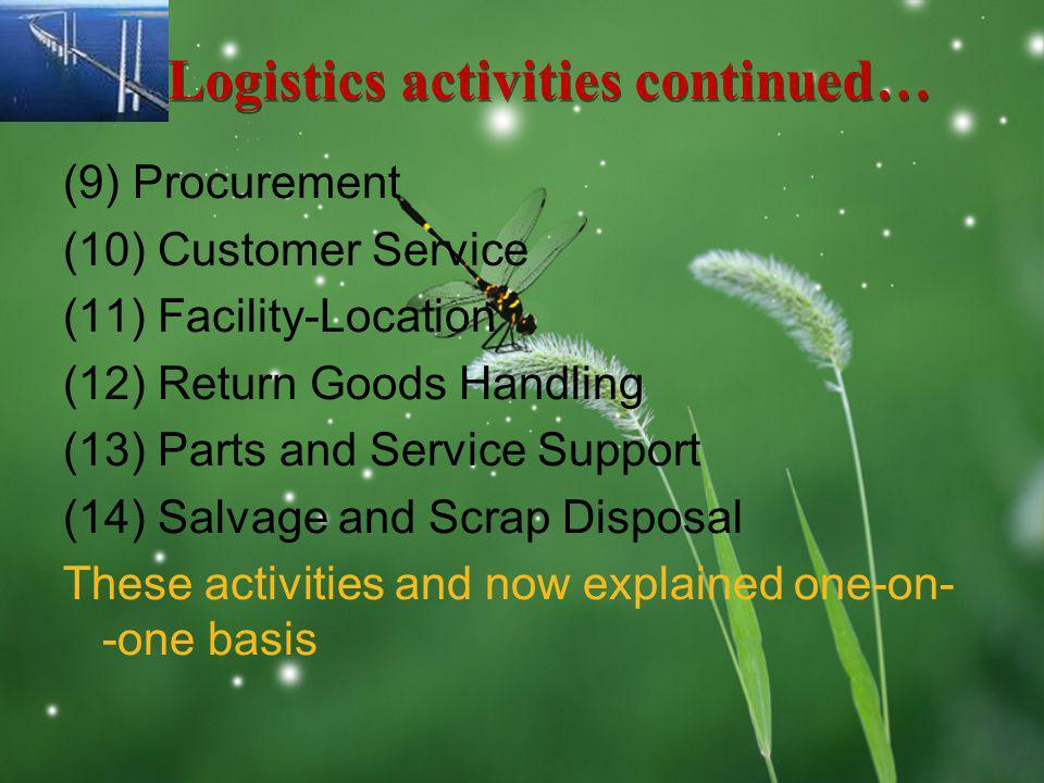 LOGO Logistics activities continued… (9) Procurement (10) Customer Service (11) Facility-Location (12) Return Goods Handling (13) Parts and Service Su