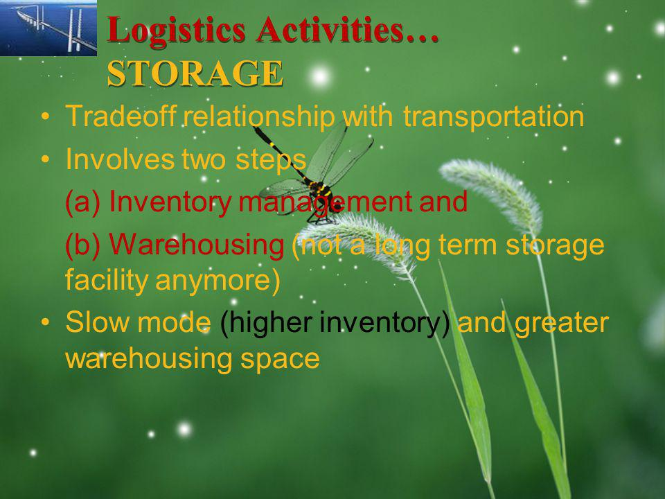 LOGO Logistics Activities… STORAGE Tradeoff relationship with transportation Involves two steps (a) Inventory management and (b) Warehousing (not a long term storage facility anymore) Slow mode (higher inventory) and greater warehousing space