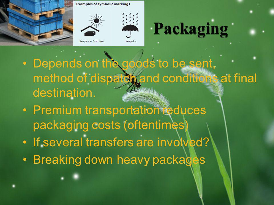 LOGO Packaging Depends on the goods to be sent, method of dispatch and conditions at final destination. Premium transportation reduces packaging costs