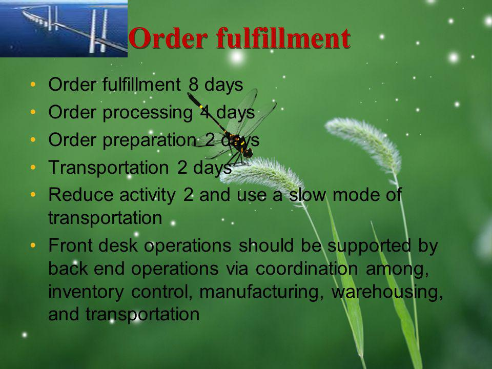LOGO Order fulfillment Order fulfillment 8 days Order processing 4 days Order preparation 2 days Transportation 2 days Reduce activity 2 and use a slo