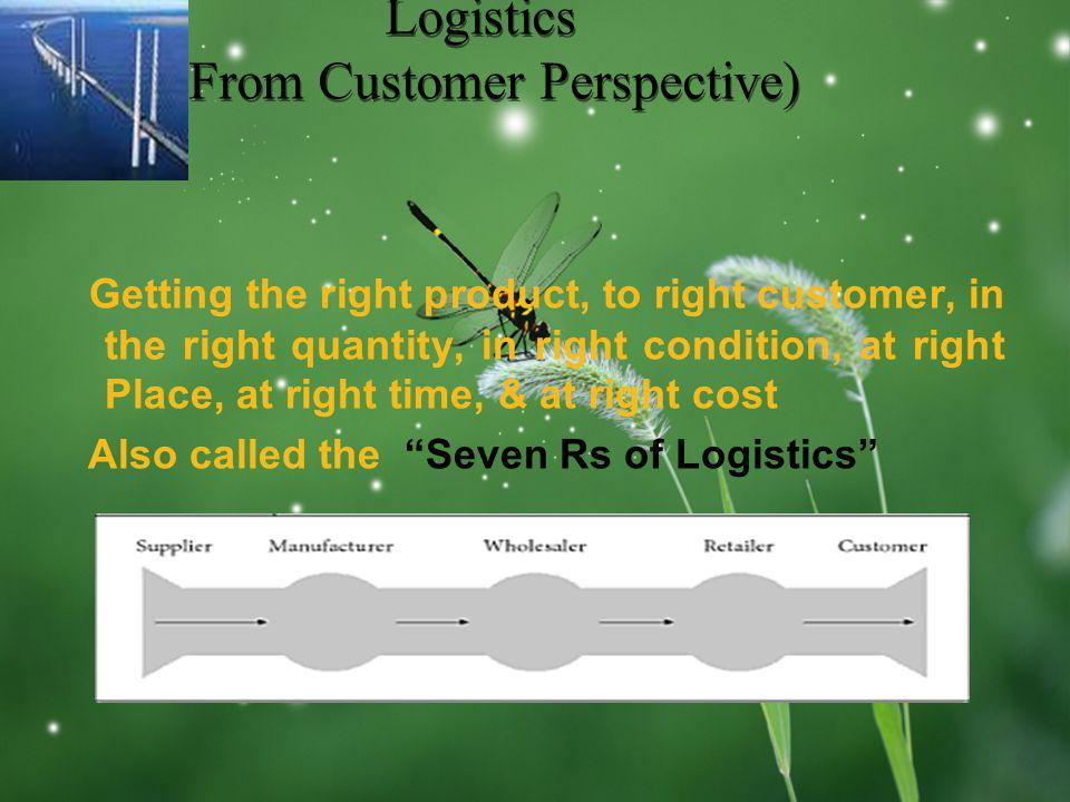 LOGO Logistics (From Customer Perspective) Getting the right product, to right customer, in the right quantity, in right condition, at right Place, at right time, & at right cost Also called the Seven Rs of Logistics