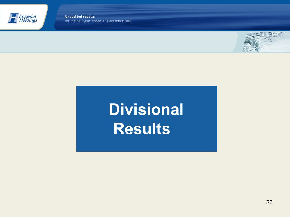 23 Divisional Results