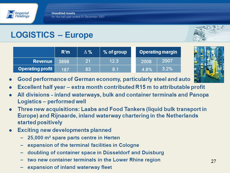 27 LOGISTICS – Europe Good performance of German economy, particularly steel and auto Excellent half year – extra month contributed R15 m to attributable profit All divisions - inland waterways, bulk and container terminals and Panopa Logistics – performed well Three new acquisitions: Laabs and Food Tankers (liquid bulk transport in Europe) and Rijnaarde, inland waterway chartering in the Netherlands started positively Exciting new developments planned –25,000 m² spare parts centre in Herten –expansion of the terminal facilities in Cologne –doubling of container space in Düsseldorf and Duisburg –two new container terminals in the Lower Rhine region –expansion of inland waterway fleet Operating profit Operating margin% of group %Rm Revenue 187 3.2% 838.1 4.8% 3898 2007 2112.3 2008